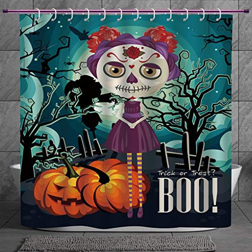 SCOCICI Fun Shower Curtain 2.0 [ Halloween,Cartoon Girl with Sugar Skull Makeup Retro Seasonal Artwork Swirled Trees Boo Decorative,Multicolor ] Polyester Fabric Bathroom Shower Curtain
