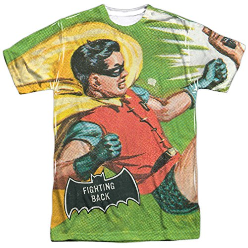 Batman+Retro+Shirts Products : Batman Classic TV Series Retro Robin Fighting Back Adult 2-Sided Print T-Shirt