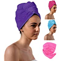 TowelsRus Spa Days Luxury Turban Hair Towel, Purple, Absorbent, Lightweight and Cotton