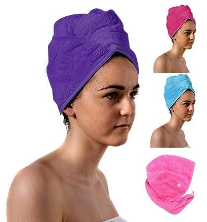 TowelsRus Spa Days turban de lujo, púrpura toalla absorbente y algodón ligero por Aztex