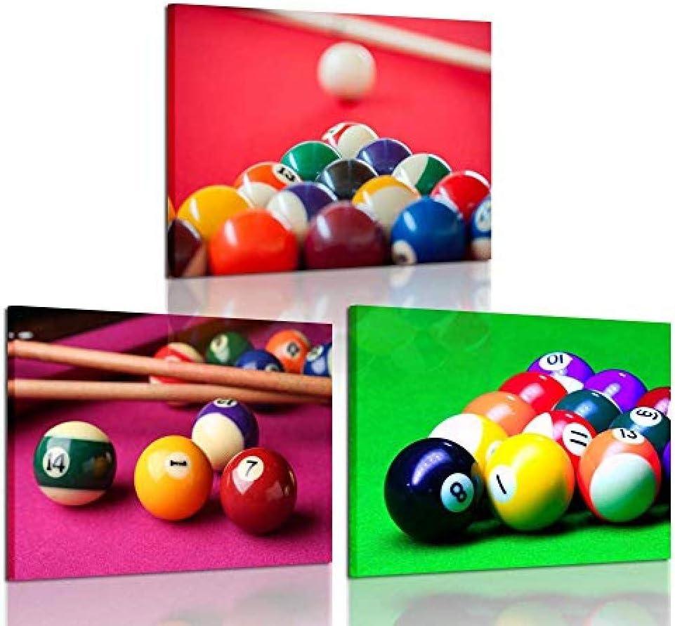 3 piezas Impresiones de la lona Arte de la pared Bolas de billar ...