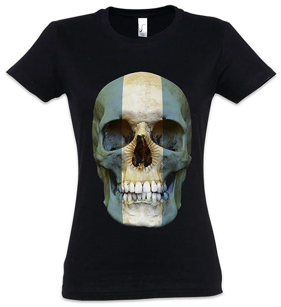 Classic Argentina Skull Flag Mujer Girlie Women T-Shirt - Bandera Cráneo Banner Fahne Argentinien