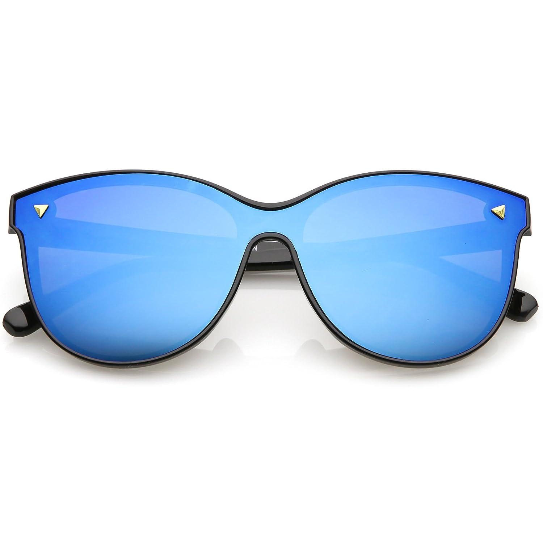 7423ab521edd1 Amazon.com  sunglassLA - Modern Round Sunglasses Horned Rim Color Mirrored  Flat Lens 58mm (Black Blue Mirror)  Clothing