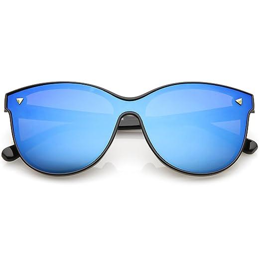 4032f89188b47 sunglassLA - Modern Round Sunglasses Horned Rim Color Mirrored Flat Lens  58mm (Black Blue