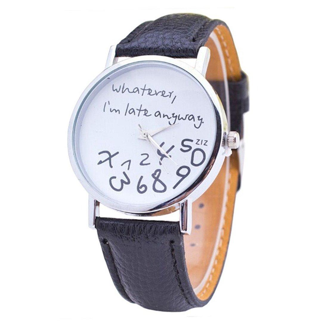 Tic-Tac^^ Montre Femmes, Mode Faux cuir Montre Bracelet Durable (noir 01)