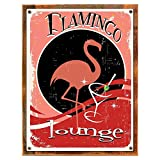 Cheap Wood-Framed Flamingo Lounge Metal Sign, Martini, Den or Gameroom Décor on reclaimed, rustic wood