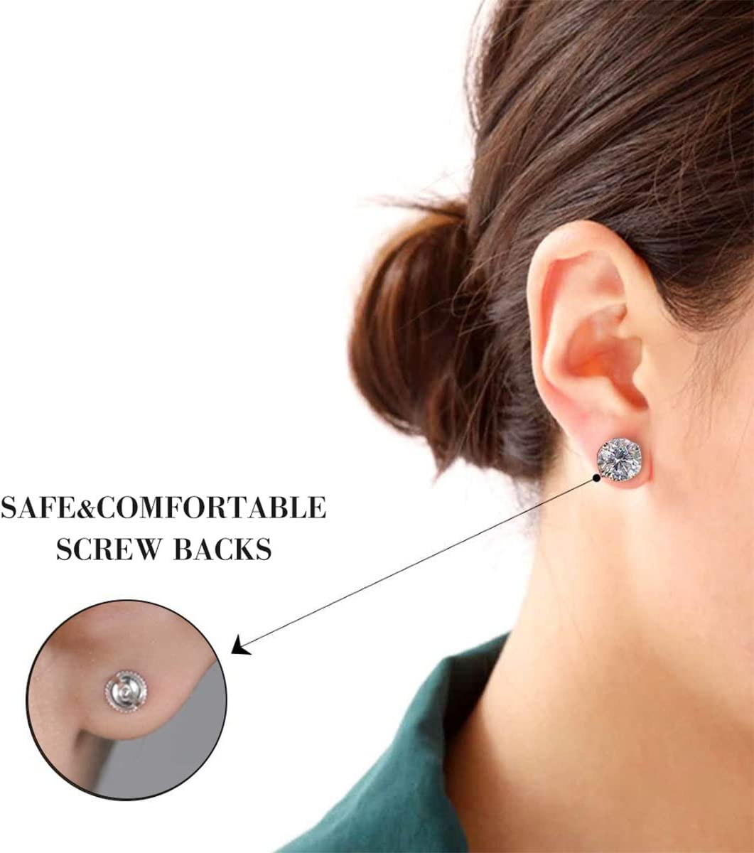 SIWOMS Earring Backs Safety 925 Sterling Silver Screw on Earring Backs Replacements Hypoallergenic 18K Gold Plated Screw Posts and Backs for Stud Earring Secure Locking Screwbacks 0.032Post 3 Pairs