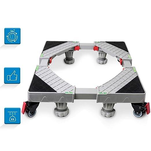 Grandekor Base Lavadora Para Movil Multifuncional Tamaño Ajustable Base Antivibracion Sin Ruido con 4x2 Ruedas y