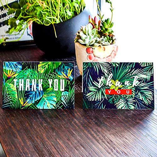 HANSGO Thank You Cards with Envelopes, 24 PCAK Summer Green Leaves Designs Blank Cards Handwritten Style with Emoji Sticker