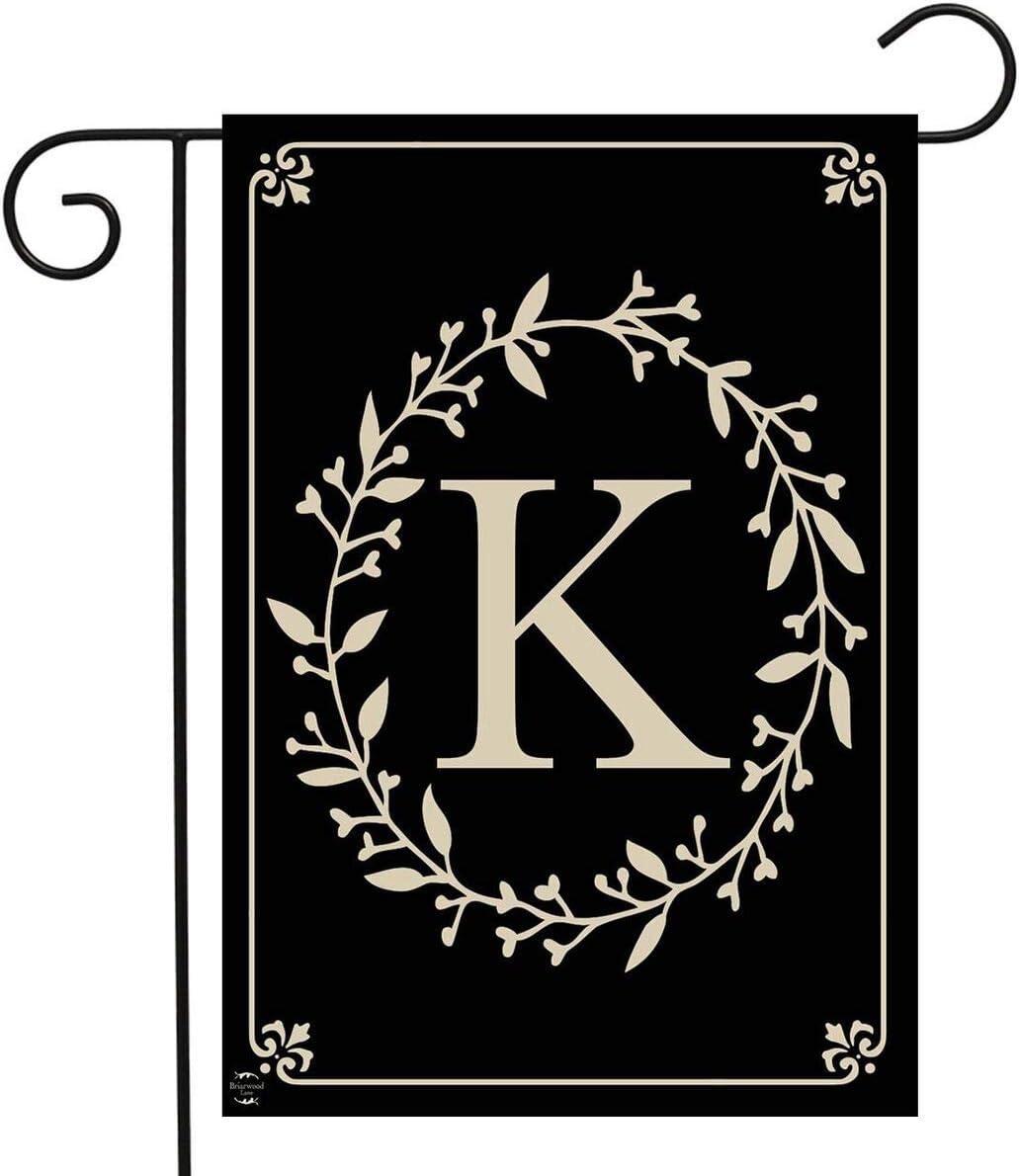 "Briarwood Lane Classic Monogram Letter K Garden Flag Everyday 12.5"" x 18"""