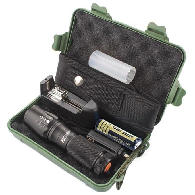 Amazon.com: Linterna Táctica, Mostsola 5000 Lumen XML T6 Linterna Táctica LED con Zoomable + 1 x 18650 recargable Batería + 1 x Batería Cargador + 1 x Caja ...