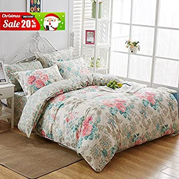 uozzi bedding 3 piece floral duvet cover set queenfull reversible printing with brushed