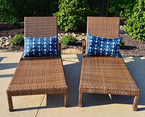Resort Spa Home Decor Set of 2 – Indoor Outdoor Jumbo Rectangle Lumbar Chaise Lounge Decorative Throw Toss Pillows – Navy Blue with White Anchors Nautical Fabric