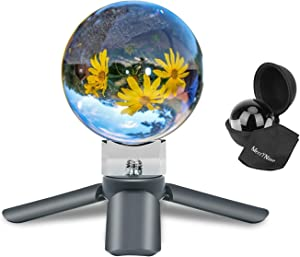 MerryNine K9 Crystal Photography Ball, K9 Lens Crystal Ball with Mini Tripod, Universal Camera Interface Crystal Base and Pouch, for Teaching Light Spectrum Physics Art Decor, (60mm)
