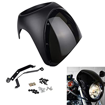 "KATUR Motorcycle 7"" Headlight Protector Fairing Windshield Kit Universal Screen Cafe Racer Style Fit for Harley Dyna Sportster 1200 883 FLHT Bobber Touring(Black with Smoke Lens): Automotive"