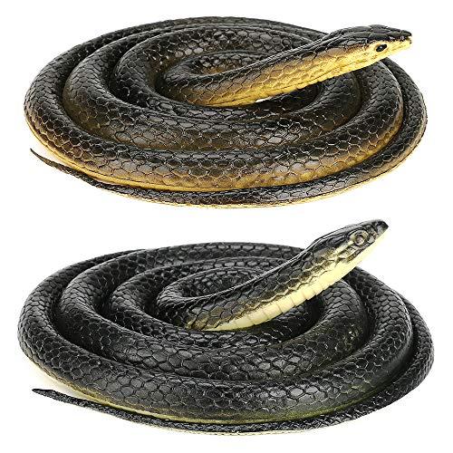 INTSUN2 개 현실적인 고무 뱀 무서운 가짜 뱀 큰 BLACK MAMBA 뱀 장난감 정원을 위한 소품 장난 할로윈 장식 새텔(52INCH&50 인치)