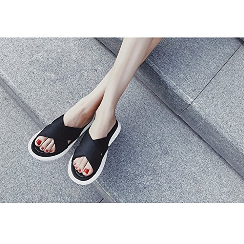 Sports Slippers Female Summer Wear Fashion Wild Flat Platform Shoes Sandals (Size : 5.0) vtkQQq