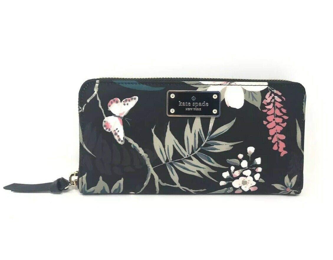 Kate Spade Wilson Road Botanical Floral Neda Nylon Black Wallet WLRU5302