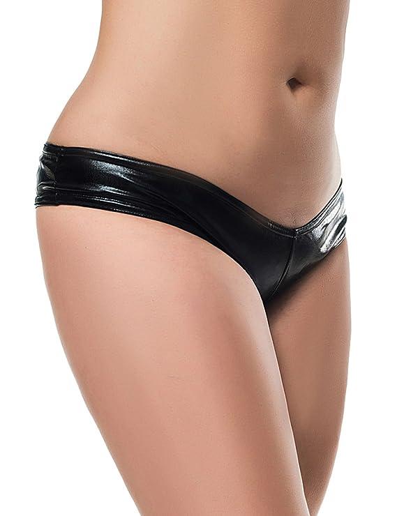 af428fffdac0 Amazon.com: Oliveya Womens Shiny Metallic Wet Look Lingerie G-String  Leather Underwear Thong: Clothing