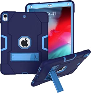 "iPad Air 3rd Generation 2019 / iPad Pro 10.5"" Case, Rugged Kickstand Series - Shockproof Heavy Duty Hybrid Three Layer Armor Defender Kids Child Proof Case Cover - Blue"