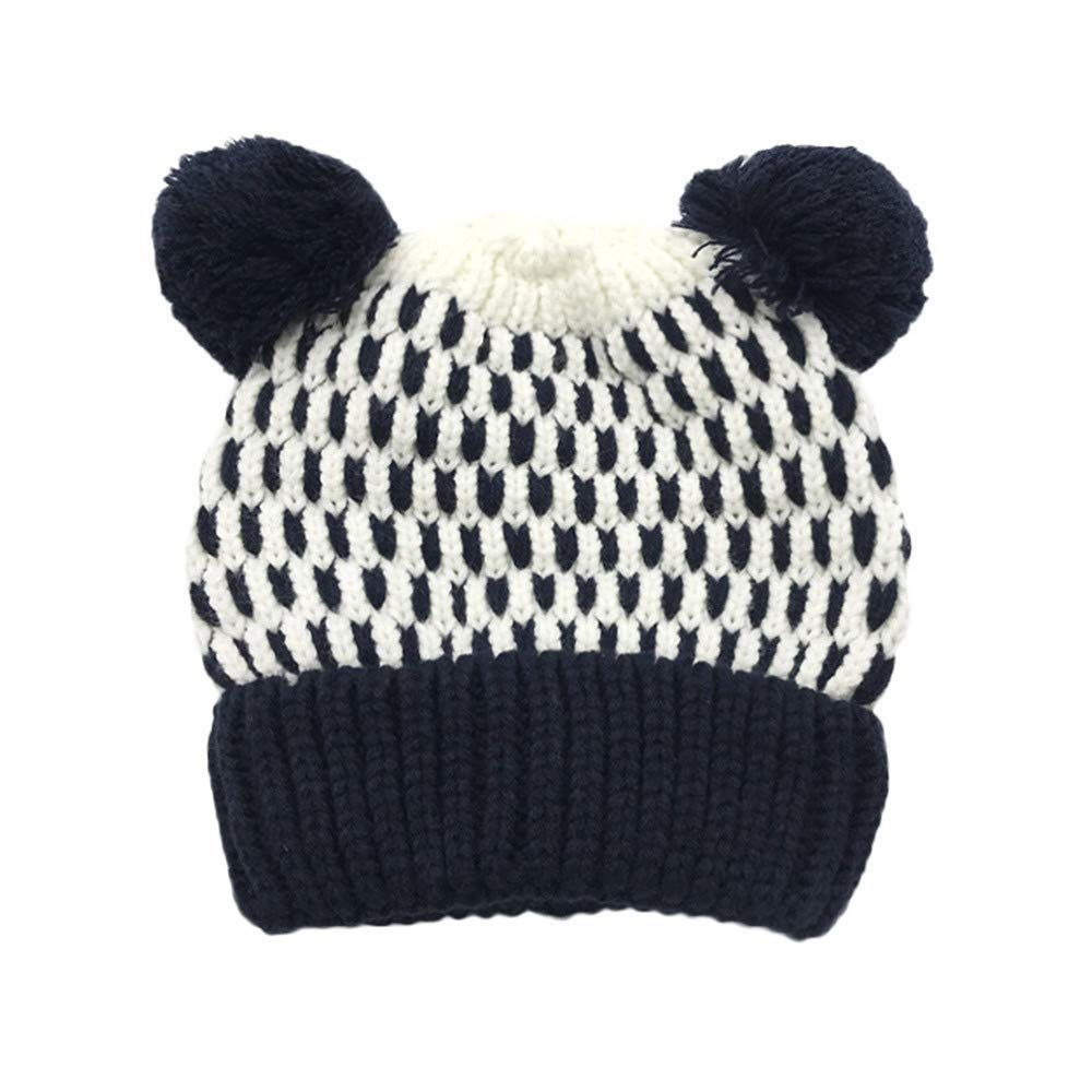 Inkach Baby Beanie Hats Pom Poms, Crochet Knitted Hat Hairball, Winter Warm Slouchy Skull Cap (Navy)
