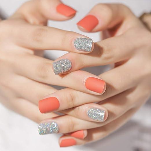 Doreliss uñas postizas 30 Pcs Mate Consejos corto uñas falsas de Pegamento adhesivo de doble cara Naranja: Amazon.es: Belleza