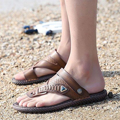 estate Uomini sandali Uomini Tempo libero Antiscivolo indossabile sandali Spiaggia Doppio uso tendenza scarpa ,Cachi,US=8.5,UK=8,EU=42,CN=43