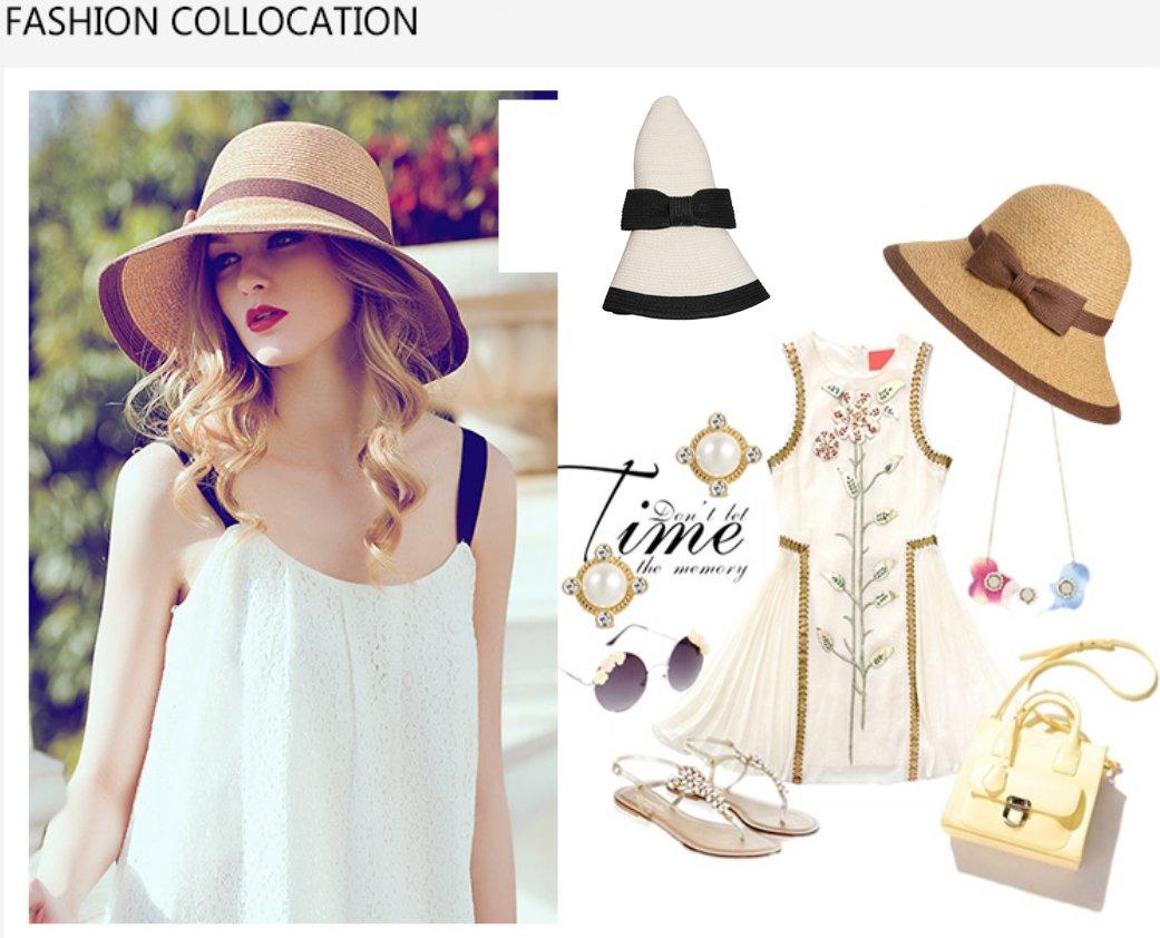 cuddty Bowknot Cap sombrero Panamá para mujer plegable verano mujeres sol  visera gorro de viaje playa senderismo Headwear 7a5e0a18850