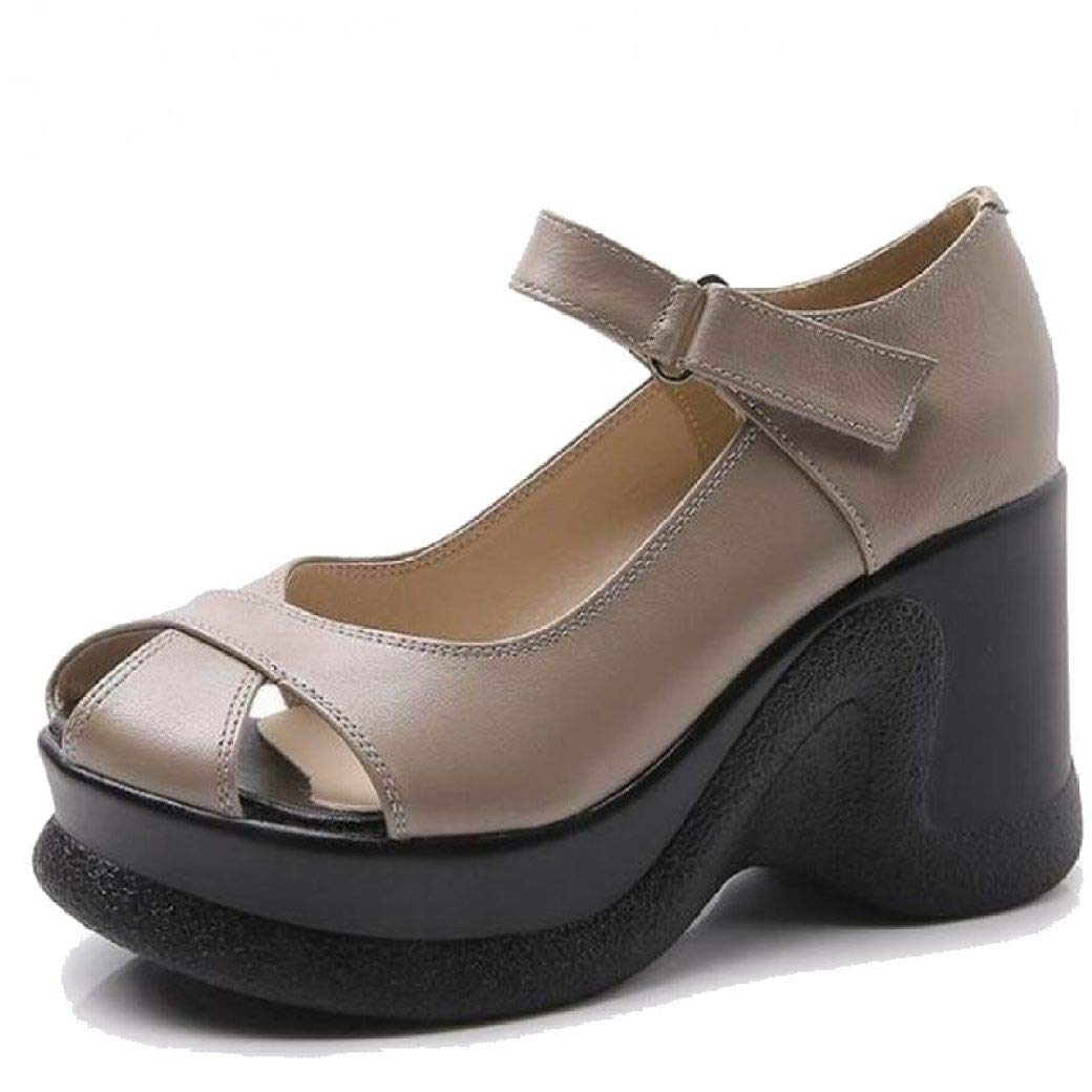 Grey T-JULY Wedge Sandals Genuine Leather Sandals Women Fashion High Heels Female Summer shoes