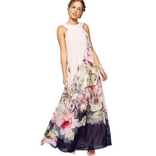 a6eb3270ab Fanteecy Women Summer Floral Print Halter Neck Sleeveless Long Maxi Dress  Plus Size Beach Party Dresses