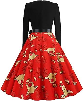 Zottom gorąca, nieregularna sukienka z dekoltem w kształcie litery V, na Boże Narodzenie, z nadrukiem, z długim rękawem, na Boże Narodzenie: Odzież