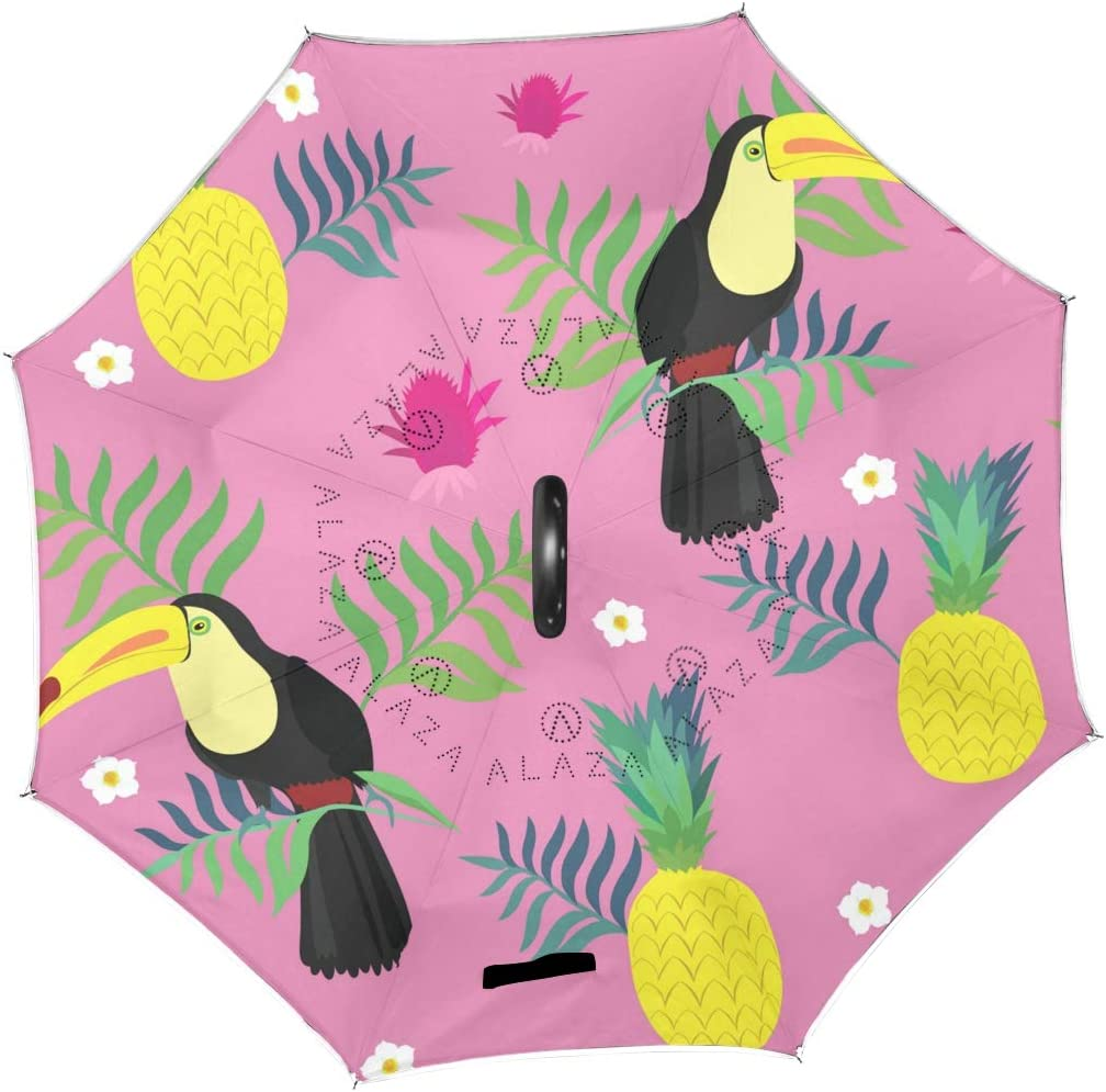 Tropical Background With Toucans Double Layer Windproof UV Protection Reverse Umbrella With C-Shaped Handle Upside-Down Inverted Umbrella For Car Rain Outdoor