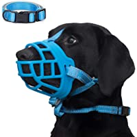 Dog Muzzle, Soft Silicone Basket Muzzle for Dogs, Allows Panting and Drinking, Prevents Unwanted Barking Biting and…
