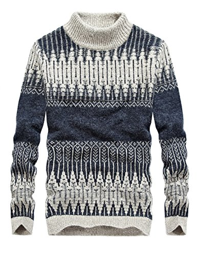 S.FLAVOR Men's Full Sleeve Jacquard Pattern Knit Turtleneck Sweater(Dark Grey,S) by S.FLAVOR (Image #1)