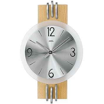 AMS 9227 Wanduhr Quarz Wohnzimmeruhr Holz Buche Rundes Metallzifferblatt Stundenstriche