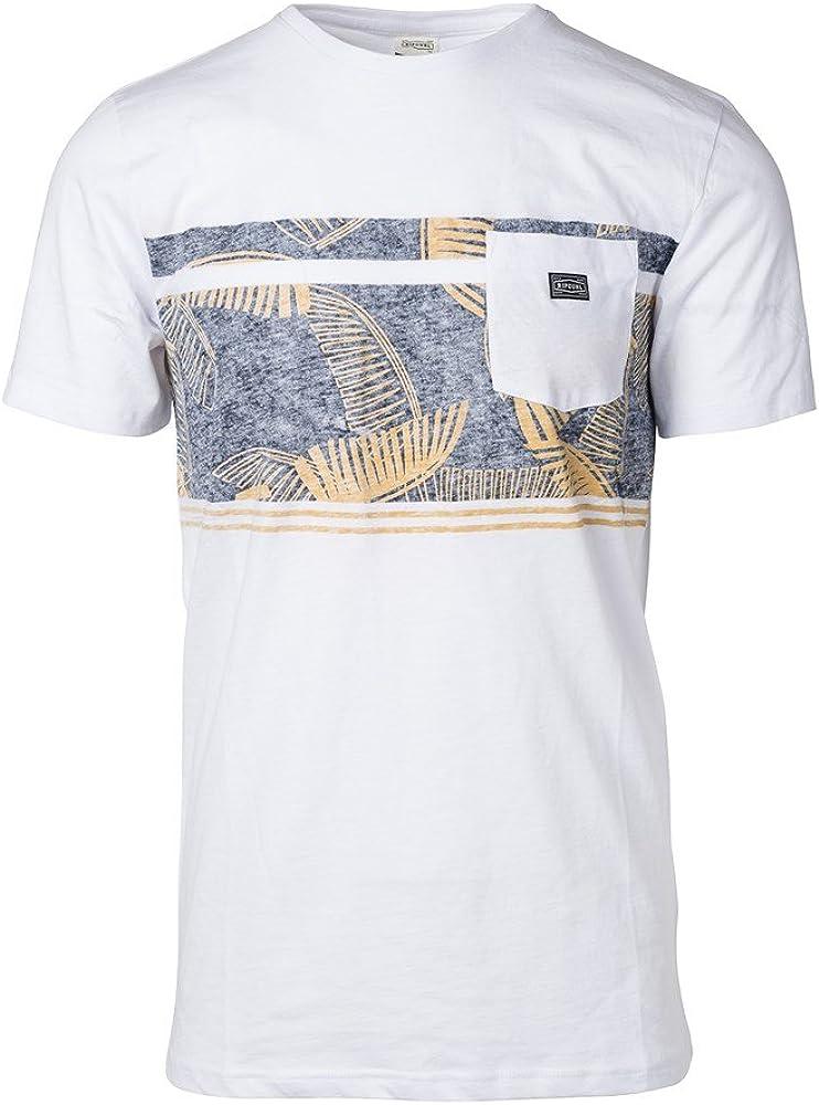 RIP CURL Retro Block tee – Camiseta de Manga Corta para Hombre, Hombre, CTECH5, Blanco, FR : L (Taille Fabricant : L): Amazon.es: Ropa y accesorios