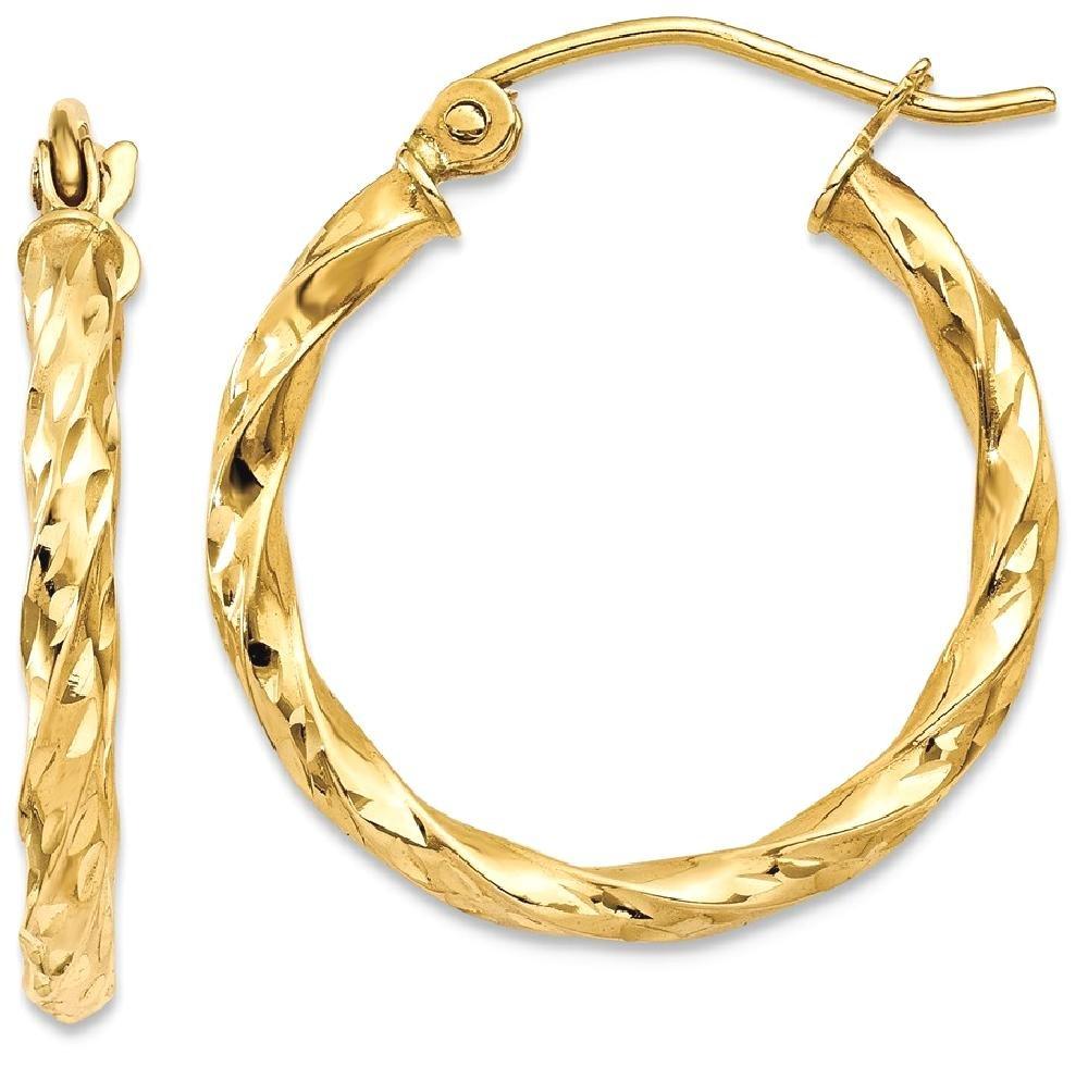 ICE CARATS 14k Yellow Gold Twist Hoop Earrings Ear Hoops Set Fine Jewelry Gift Set For Women Heart