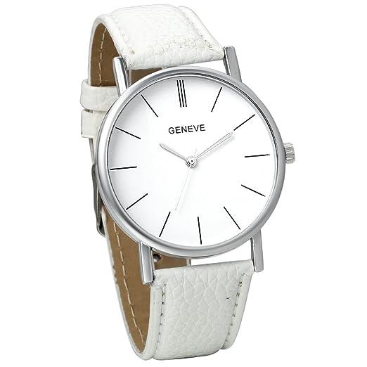 Jewelrywe Reloj de pulsera de cuero blanco clásico sencillo reloj de aleación moda nueva de 2016 regalo para su amor: Amazon.es: Relojes