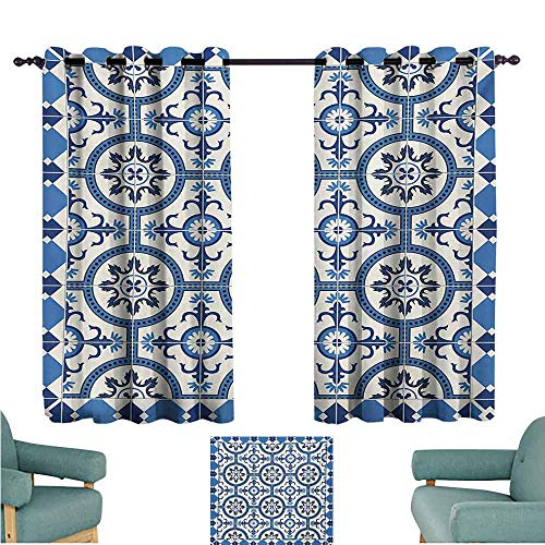 (DONEECKL Bedroom Curtains 2 Panel Moroccan Oriental Turkish Style Inspired Arabesque Mosaic Motifs in Classic Retro Design Thermal Insulated Tie Up Curtain W55 xL72 Grey Blue)