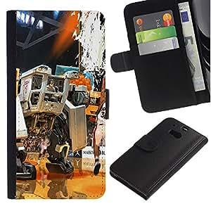 Mech Warrior Baloncesto - la tarjeta de Crédito Slots PU Funda de cuero Monedero caso cubierta de piel Para HTC One M8
