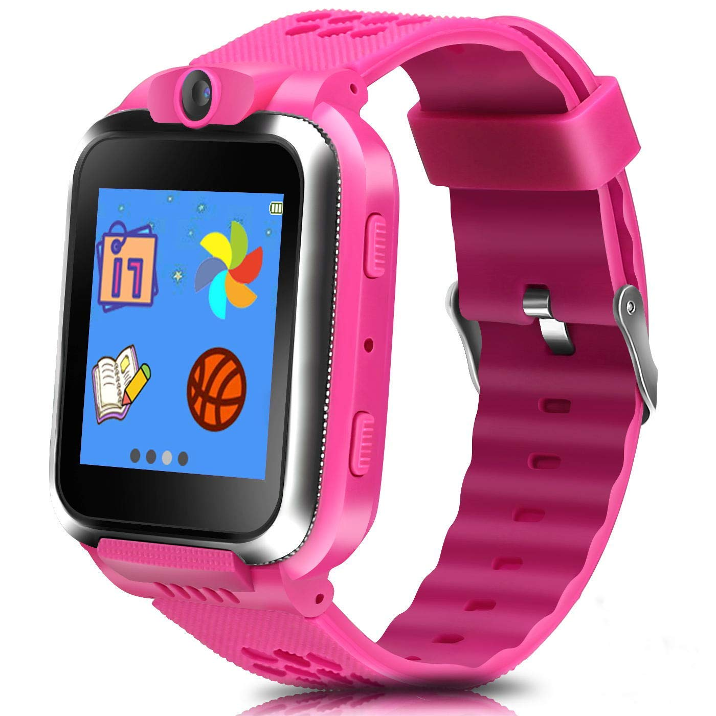 ZOPPRI Kids Game smartwatch Touch Screen Kinds of Games Kids Watch Theme Calendar Stopwatch Alarm Clock Photo Timer Multi-Function Watch Toy Gift for 3-12 Years Old boy Girl Birthday Gift (Pink)