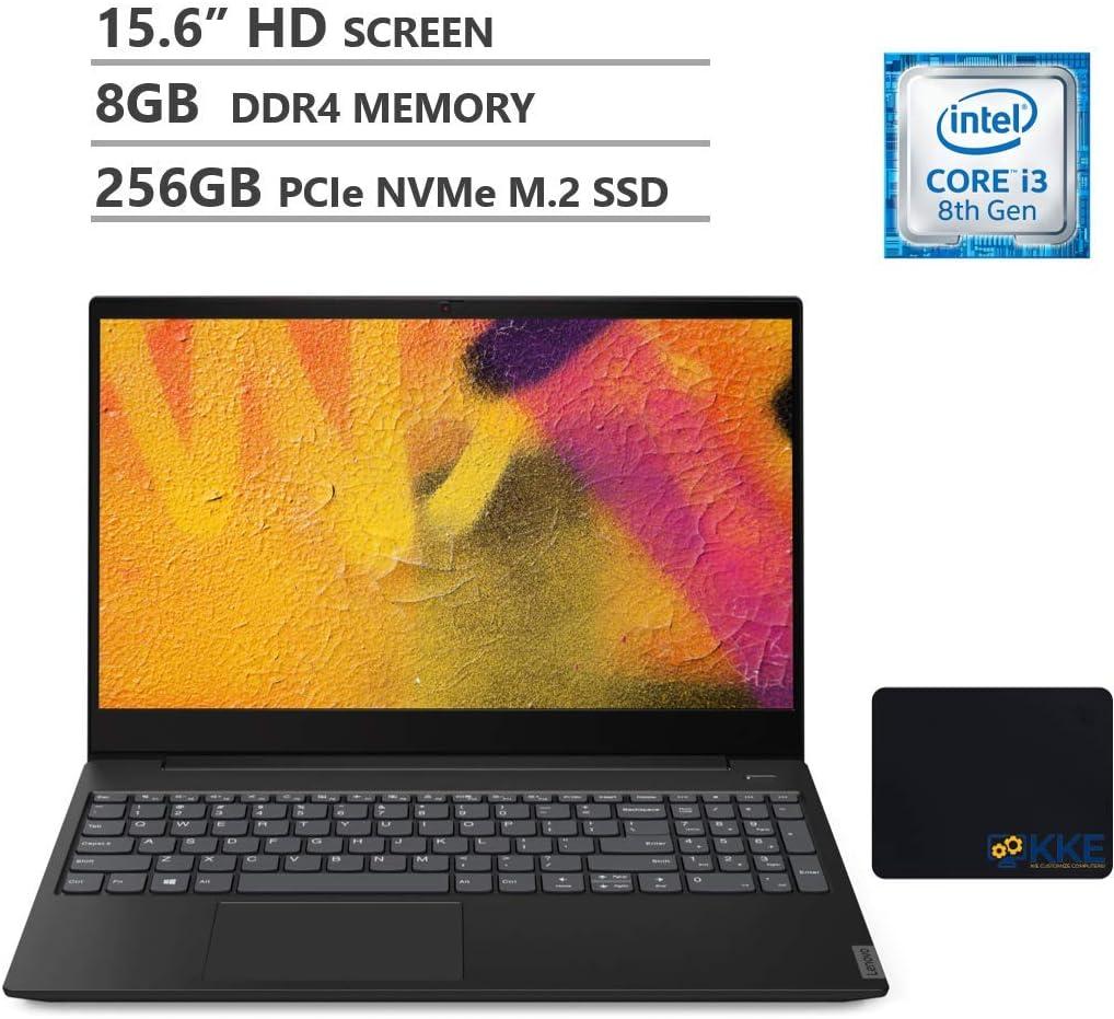 "Lenovo IdeaPad S340 Laptop, 15.6"" HD Screen, Intel Core i3-8145U Processor up to 3.9GHz,Webcam, Wireless-AC, Bluetooth, HDMI, Onyx Black, KKE Mousepad (8GB RAM | 256GB SSD)"