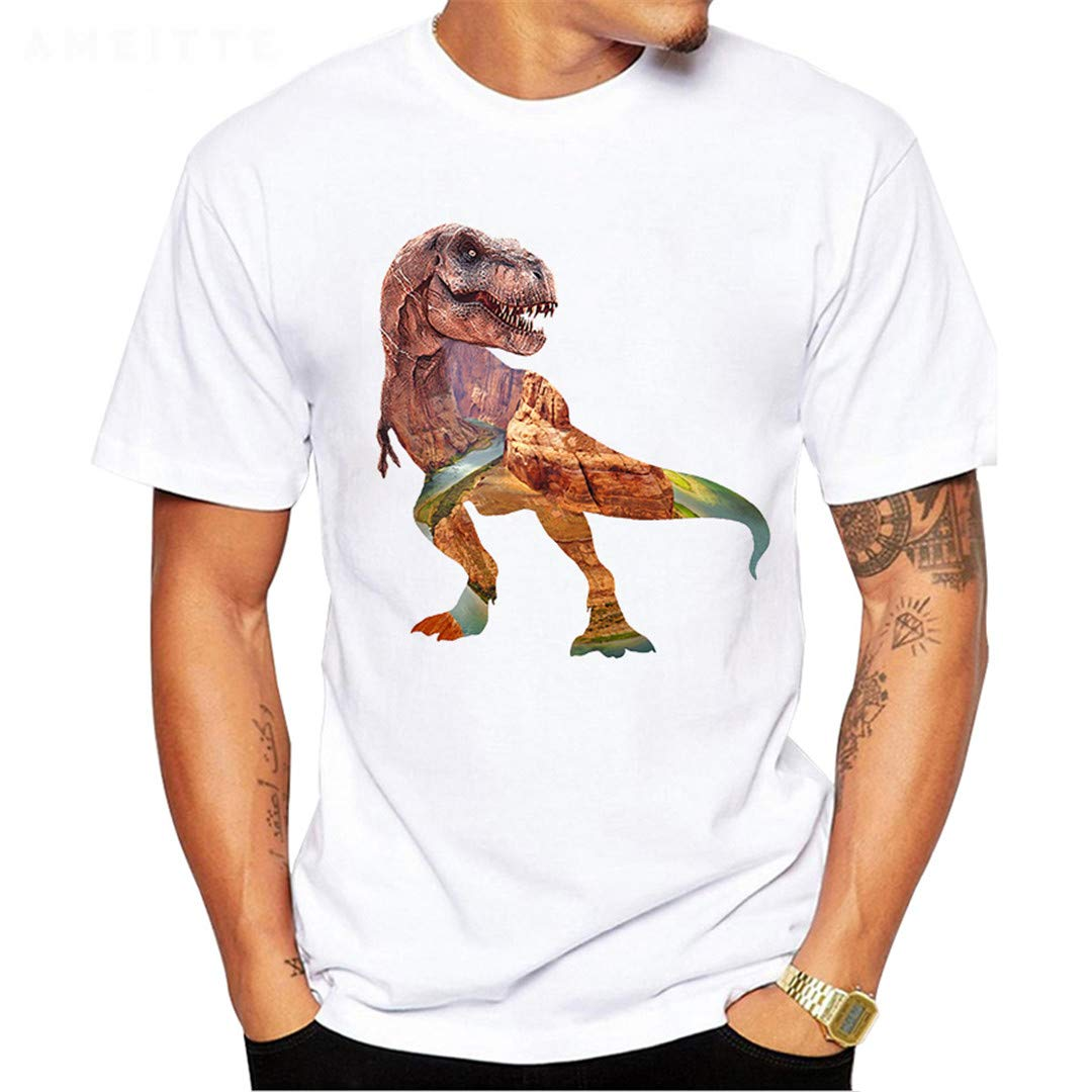 Fashion Print Horror Dinosaur Fossil T Shirt Mens Summer Sleeve Tops Tee