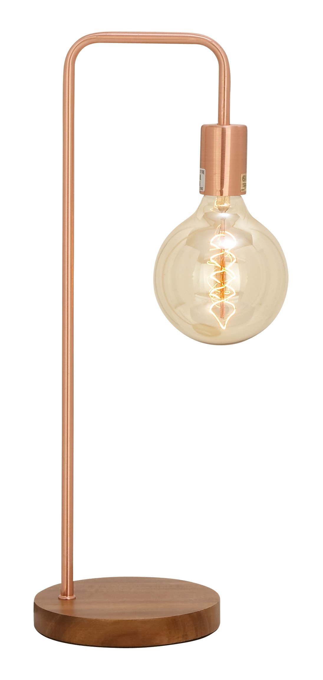 Modern 21 Inch Copper Iron Desk Lamp with Vintage Bulb