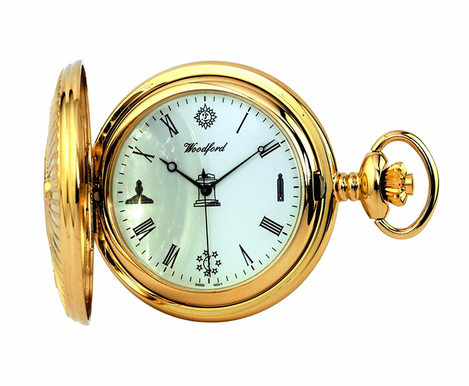 pocket watch png woodford quartz fullhunter pocket watch menu0027s goldplated masonic pattern with chain amazoncouk watches png