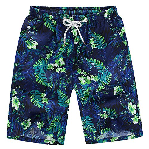 Men's Quick Dry Swim Trunks Tropical Print Beach Surfing Board Drawsting Shorts with Mesh Lining (XXXXL, Green) ()