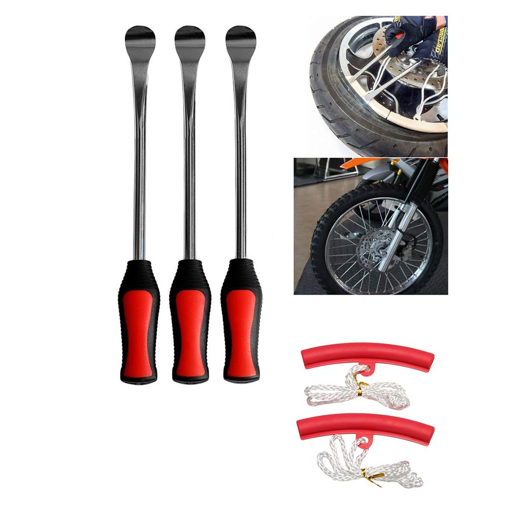 Heavy Duty Motorcycle Bike Car Tire Irons Tool Kit LIOOBO 5 in 1 Tire Changing Set Tire Levers Spoon Set