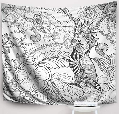 Crannel Easter Cute Coloring Page Animals Doodle Ethnic Patterned African Totem Sketch Tattoo Poster Print Tapestry 60x50 Inches Wall Art Tapestries Hanging for Dorm Room Living Home Decorative ()