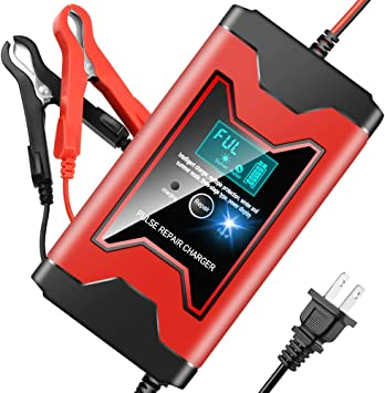 Car Battery Charger 12V6A Automotive Smart Portable Battery Charger MaintainerPulse Repair Charger Pack for Car, Motorcycle, Lawn Mower and More