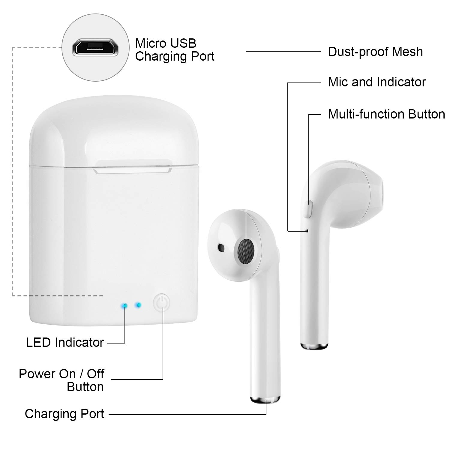 dizauL Wireless Headphones, Wireless Earbuds, Bluetooth Earbuds, Wireless Headsets Stereo In-Ear Earpieces with 2 Built-in Mic Earphone for Smartphones and Tablets